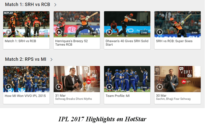 watch ipl 2017 matches highlights
