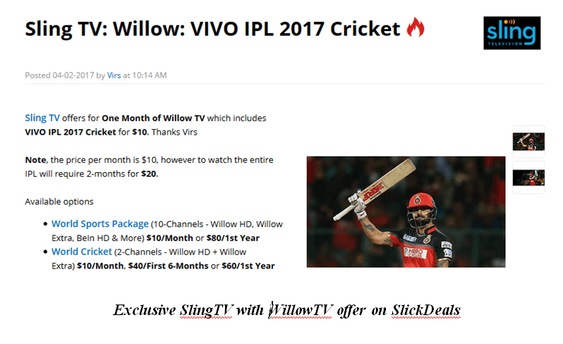 watch vivo ipl live in usa on sling/willow tv
